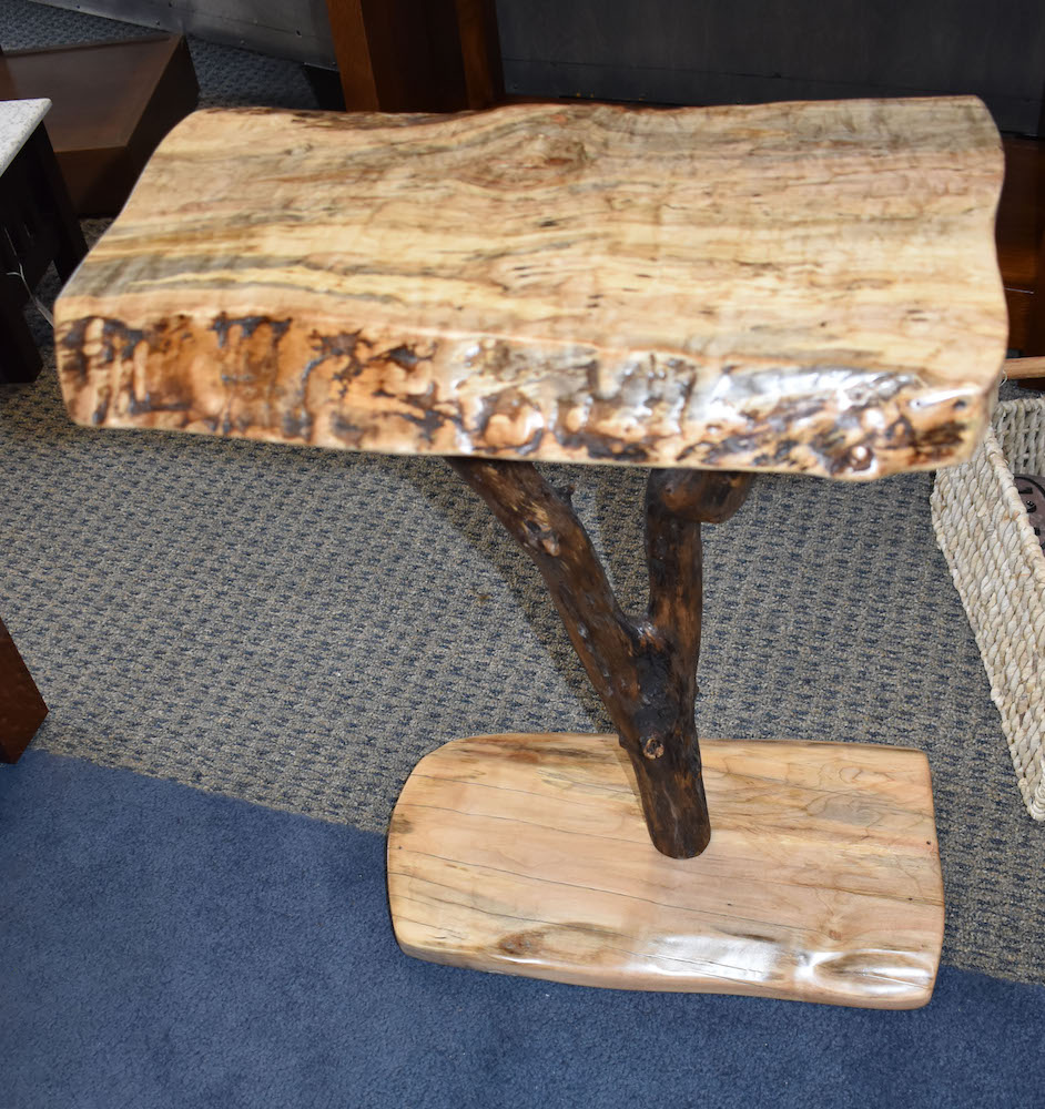 Live Edge Side Table in Burled Maple