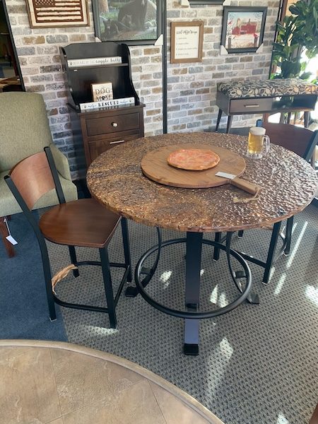 Copper Top Pub Table with 2 Stools