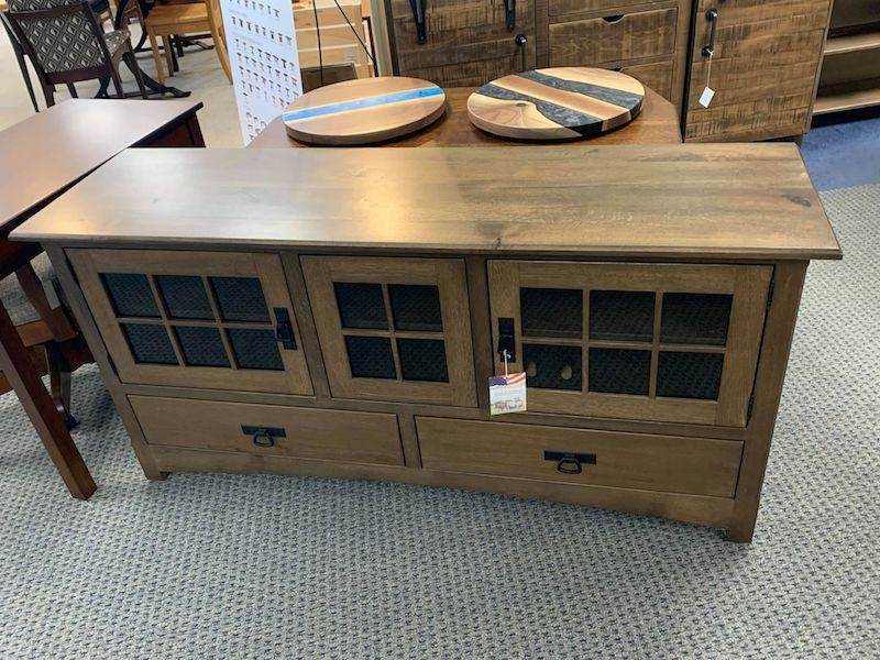Mission Style TV Stand in Rough Sawn White Oak