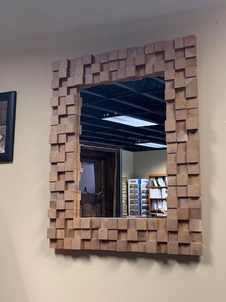Mirror with Walnut Block Frame